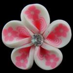 Beads polimer balta, Polymer Clay, Lule, asnjë, e bardhë, 30x15mm, : 4mm, 100PC/Qese,  Qese
