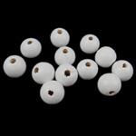 Beads druri, Round, i lyer, e bardhë, 14x15mm, : 4.5mm, 555PC/Qese,  Qese