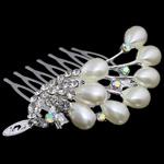 Combs dekorative Flokët, Alloy zink, me diamant i rremë, , nikel çojë \x26amp; kadmium falas, 60x51x27.50mm, 12PC/Qese,  Qese
