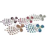 Combs dekorative Flokët, Alloy zink, me diamant i rremë, ngjyra të përziera, , nikel çojë \x26amp; kadmium falas, 64.50x51x29mm, 12PC/Qese,  Qese