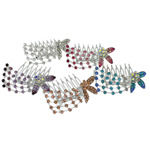 Combs dekorative Flokët, Alloy zink, me diamant i rremë, ngjyra të përziera, , nikel çojë \x26amp; kadmium falas, 63.50x52x32mm, 12PC/Qese,  Qese