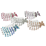 Combs dekorative Flokët, Alloy zink, me diamant i rremë, ngjyra të përziera, , nikel çojë \x26amp; kadmium falas, 66.50x52x35mm, 12PC/Qese,  Qese