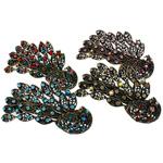Flokeve barrettes, Alloy zink, i praruar, me diamant i rremë, ngjyra të përziera, , nikel çojë \x26amp; kadmium falas, 48.50x87.50x27mm, 12PC/Qese,  Qese