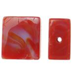Handgewickelte Perlen, Lampwork, Rechteck, handgemacht, rot, 16x14x6.50mm, Bohrung:ca. 2mm, 100PCs/Tasche, verkauft von Tasche
