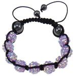 Rrëshirë Shamballa Bracelets, with Cord najlon & Jo-magnetike kuqe e mbylltë & Rrëshirë diamant i rremë, asnjë, 10x12mm, :7.5Inç, 10Fillesat/Shumë,  Shumë