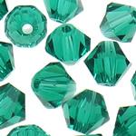 Swarovski Crystal Beads, Bicone, Smerald, 6mm, : 1mm, 50PC/Qese,  Qese