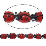 Beads dorë Lampwork, Mollëkuqe, punuar me dorë, i kuq, 15x11x9mm, : 1.5mm, 100PC/Qese,  Qese