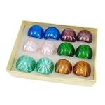 Ring Finger lampwork, petë argjendi, ngjyra të përziera, 30x28x24mm, : 17mm, :7, 12PC/Kuti,  Kuti