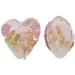 Rërë Beads Gold Lampwork, Zemër, rërë ari, 12x12-12.5x9-9.5mm, : 2mm, 100PC/Qese,  Qese