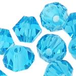 Swarovski Crystal Beads, Bicone, Akuamarin, 4mm, : 1mm, 50PC/Qese,  Qese