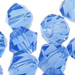 Swarovski Crystal Beads, Bicone, Lt Sapphire, 3mm, : 1mm, 50PC/Qese,  Qese