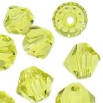 Swarovski Crystal Beads, Bicone, Ngjyrë e verdhë, 3mm, : 1mm, 50PC/Qese,  Qese