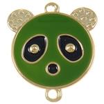 Iron Mbulim Gjuhësh, Hekur, Panda, smalt & 1/1 loop, e gjelbër, , nikel çojë \x26amp; kadmium falas, 37x42x2mm, : 3mm, 200PC/Qese,  Qese