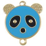 Iron Mbulim Gjuhësh, Hekur, Panda, smalt & 1/1 loop, blu, , nikel çojë \x26amp; kadmium falas, 37x42x2mm, : 3mm, 200PC/Qese,  Qese