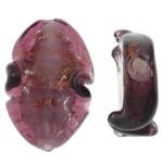 Goldsand Lampwork Perlen, Twist, 20x30x9mm, Bohrung:ca. 1.5mm, 100PCs/Tasche, verkauft von Tasche