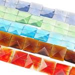 Beads Crystal, Kristal, Katror, i tejdukshëm, ngjyra të përziera, 14x14x6.50mm, : 1mm, :13.8Inç, 20Fillesat/Qese,  Qese