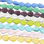 Beads Crystal Heart, Kristal, Zemër, i tejdukshëm, ngjyra të përziera, 12x10.50x5mm, : 1mm, :14Inç, 20Fillesat/Qese,  Qese