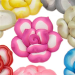 Beads polimer balta, Polymer Clay, Lule, asnjë, ngjyra të përziera, 24x10-27x13mm, : 1-2mm, 100PC/Qese,  Qese