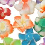 Beads polimer balta, Polymer Clay, Lule, asnjë, ngjyra të përziera, 15x8-18x10mm, : 1-2mm, 100PC/Qese,  Qese