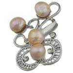 Pearl ujërave të ëmbla karficë, Pearl kulturuar ujërave të ëmbla, with Tunxh, Lule, rozë, 32x52x17mm,  PC