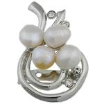Pearl ujërave të ëmbla karficë, Pearl kulturuar ujërave të ëmbla, with Tunxh, Mollë, e bardhë, 32x51x15mm,  PC