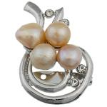 Pearl ujërave të ëmbla karficë, Pearl kulturuar ujërave të ëmbla, with Tunxh, Mollë, rozë, 32x51x15mm,  PC