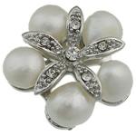 Pearl ujërave të ëmbla karficë, Pearl kulturuar ujërave të ëmbla, with Tunxh, Lule, e bardhë, 31.50x33x14.50mm,  PC