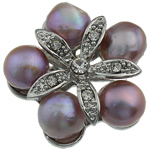 Pearl ujërave të ëmbla karficë, Pearl kulturuar ujërave të ëmbla, with Tunxh, Lule, vjollcë, 31.50x33x14.50mm,  PC