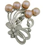 Pearl ujërave të ëmbla karficë, Pearl kulturuar ujërave të ëmbla, with Tunxh, Lule, rozë, 39.50x49x17.50mm,  PC
