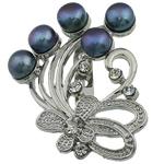 Pearl ujërave të ëmbla karficë, Pearl kulturuar ujërave të ëmbla, with Tunxh, Lule, e zezë, 39.50x49x17.50mm,  PC