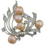 Pearl ujërave të ëmbla karficë, Pearl kulturuar ujërave të ëmbla, with Tunxh, Lule, rozë, 44.50x49x15mm,  PC