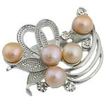 Pearl ujërave të ëmbla karficë, Pearl kulturuar ujërave të ëmbla, with Tunxh, Lule, rozë, 36x42x17mm,  PC