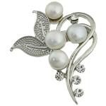 Pearl ujërave të ëmbla karficë, Pearl kulturuar ujërave të ëmbla, with Tunxh, Lule, e bardhë, 41x50x18.50mm,  PC