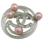 Pearl ujërave të ëmbla karficë, Pearl kulturuar ujërave të ëmbla, with Tunxh, Monedhë, rozë, 43x49x17mm,  PC