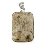 Pendants gur i çmuar bizhuteri, Silver Leaf Jasper, with Tunxh, Drejtkëndësh, 20x26x6mm, : 5x5mm, 10PC/Qese,  Qese