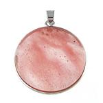 Pendants gur i çmuar bizhuteri, Cherry kuarc, Monedhë, 32x32x9mm, : 4x5mm, 10PC/Qese,  Qese