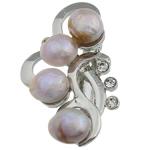 Pearl ujërave të ëmbla karficë, Pearl kulturuar ujërave të ëmbla, with Tunxh, Lule, vjollcë, 31.50x53x15.50mm,  PC