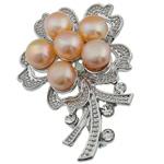 Pearl ujërave të ëmbla karficë, Pearl kulturuar ujërave të ëmbla, with Tunxh, Lule, rozë, 36.50x53x17.50mm,  PC