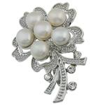 Pearl ujërave të ëmbla karficë, Pearl kulturuar ujërave të ëmbla, Lule, e bardhë, 36.50x53x17.50mm,  PC
