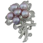 Pearl ujërave të ëmbla karficë, Pearl kulturuar ujërave të ëmbla, with Tunxh, Lule, vjollcë, 36.50x53x17.50mm,  PC