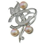 Pearl ujërave të ëmbla karficë, Pearl kulturuar ujërave të ëmbla, with Tunxh, Lule, rozë, 38.50x50x15.50mm,  PC