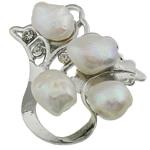Pearl ujërave të ëmbla karficë, Pearl kulturuar ujërave të ëmbla, with Tunxh, Lule, e bardhë, 47.50x46x19mm,  PC