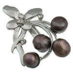 Pearl ujërave të ëmbla karficë, Pearl kulturuar ujërave të ëmbla, with Tunxh, Lule, e zezë, 57x39.50x16mm,  PC