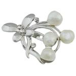 Pearl ujërave të ëmbla karficë, Pearl kulturuar ujërave të ëmbla, with Tunxh, Lule, e bardhë, 57x39.50x16mm,  PC