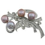 Pearl ujërave të ëmbla karficë, Pearl kulturuar ujërave të ëmbla, with Tunxh, Lule, rozë, 54x29.50x17mm,  PC