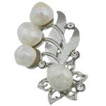 Pearl ujërave të ëmbla karficë, Pearl kulturuar ujërave të ëmbla, with Tunxh, Lule, e bardhë, 50.50x33x15mm,  PC