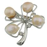Pearl ujërave të ëmbla karficë, Pearl kulturuar ujërave të ëmbla, with Tunxh, Lule, rozë, 46x41x17mm,  PC