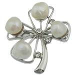 Pearl ujërave të ëmbla karficë, Pearl kulturuar ujërave të ëmbla, with Tunxh, Lule, e bardhë, 46x41x17mm,  PC