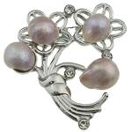 Pearl ujërave të ëmbla karficë, Pearl kulturuar ujërave të ëmbla, with Tunxh, Lule, rozë, 49x45x17mm,  PC