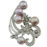 Pearl ujërave të ëmbla karficë, Pearl kulturuar ujërave të ëmbla, with Tunxh, Lule, rozë, 54.50x37x15mm,  PC